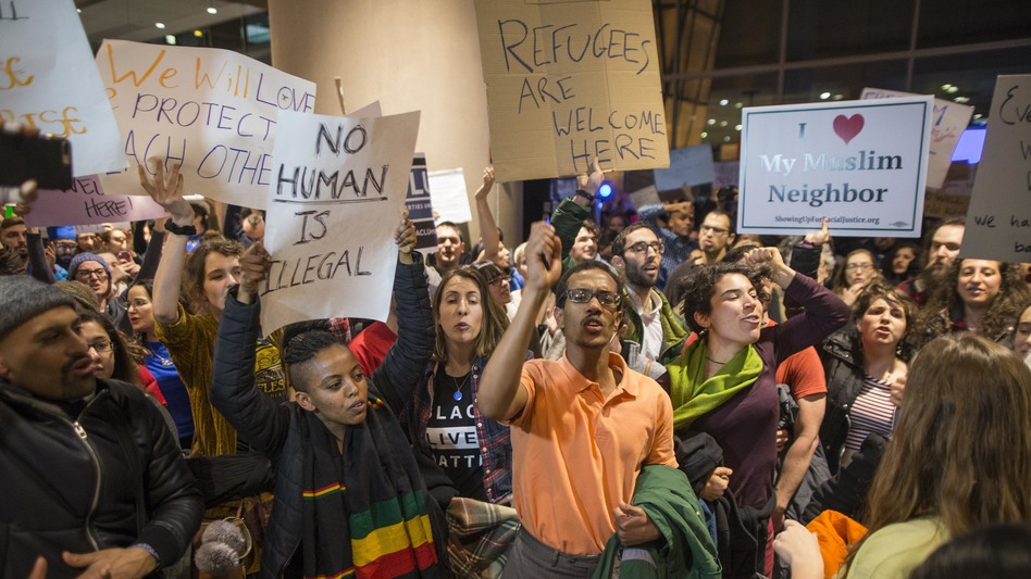 Protesters at Logan International Airport in Boston Saturday (Scott Eisen/Getty Images)