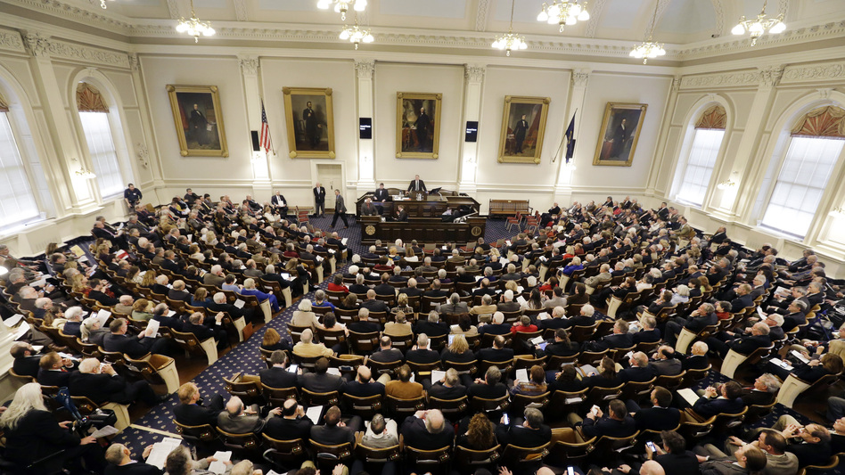 The first session of the New Hampshire House on Jan. 4, 2017, in Concord. The chamber will soon consider legislation that will likely curtail the financial strength of labor unions. (Elise Amendola/AP)