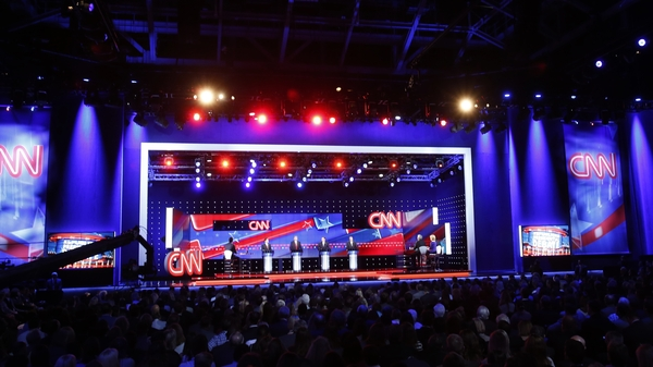 Republican candidates listen to a question during a March 2016 GOP presidential debate co-sponsored by CNN at the University of Miami.