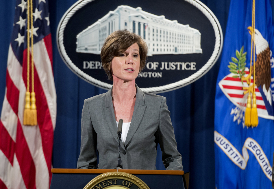 Deputy Attorney General Sally Yates, shown in 2016, has been fired for saying Department of Justice lawyers would not defend President Trump's executive order restricting refugees and visa holders from entering the U.S. (Saul Loeb/AFP/Getty Images)