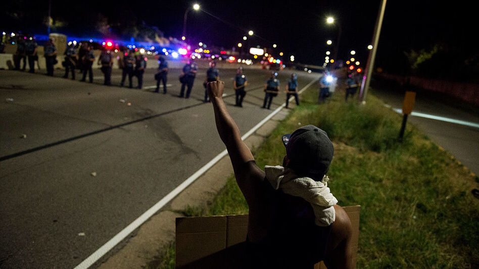 Bills in state legislatures across the country would increase penalties for protests that block highways, such as these in St. Paul, Minn., in the summer of 2016.