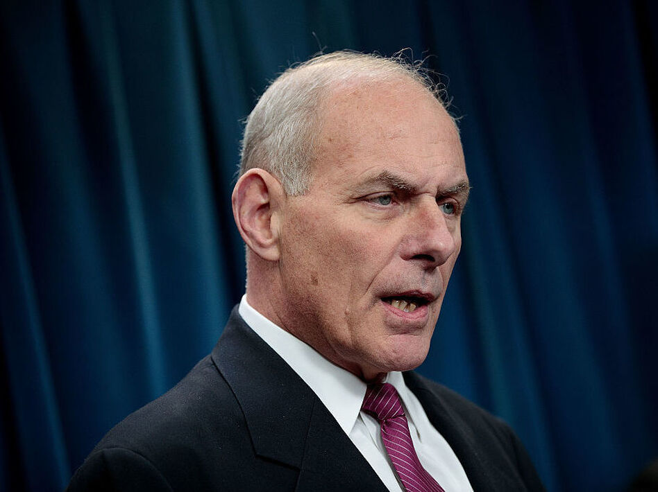 Secretary of Homeland Security John Kelly answers questions during a news conference on Tuesday in Washington, D.C. (Drew Angerer/Getty Images)