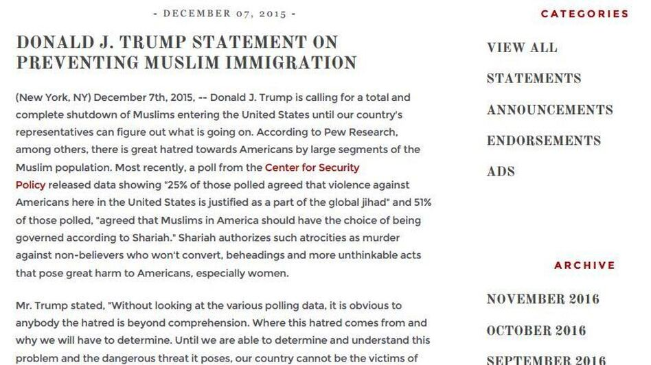 An exhibit in Washington state's lawsuit cited President Trump's plan to ban Muslims, a pledge made in December of 2015. (Washington District Court Filing)