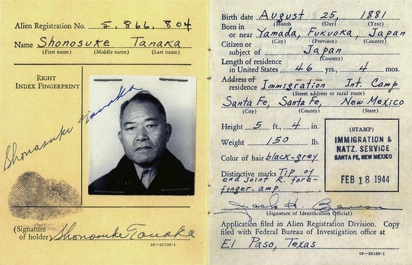 Shonosuke Tanaka was among scores of people of Japanese ancestry who were held in captivity during World War II. The Feb. 18, 1944, image was provided by the Tanaka family.