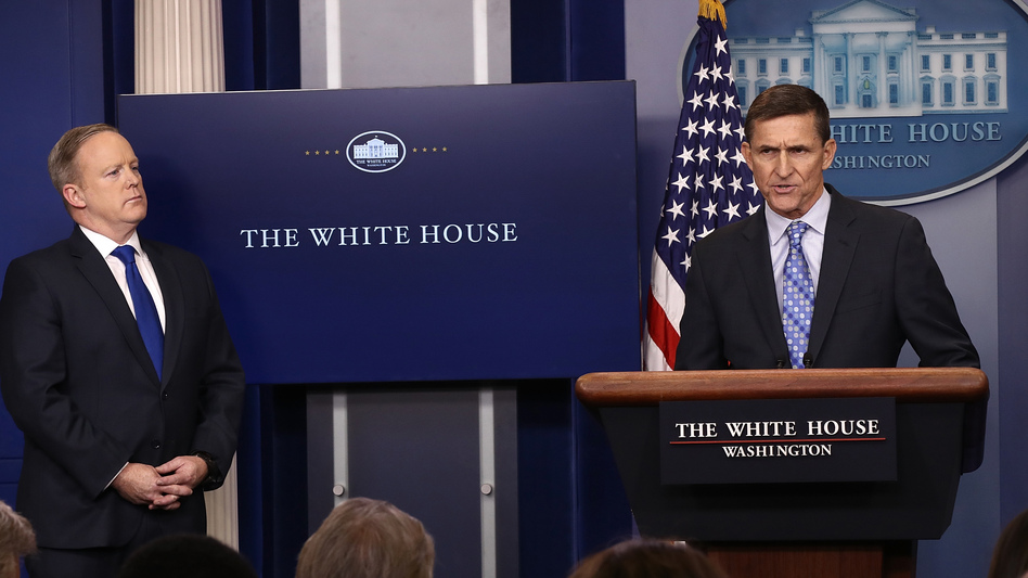 "White House National Security Adviser Michael Flynn (right) put ""Iran on notice"" on Wednesday for a recent missile test and support for Houthi rebels in Yemen. (Win McNamee/Getty Images)"