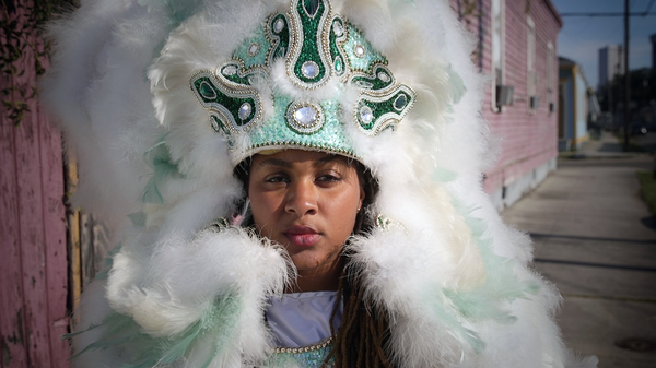 Kijafa Brown is a longshoreman and member of the Washitaw Nation, a New Orleans Mardi Gras Indian tribe.