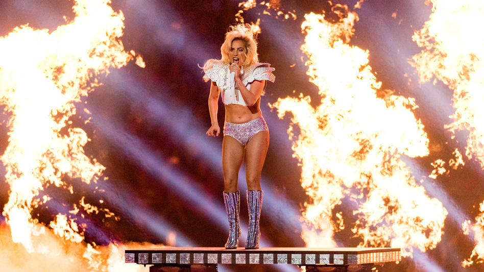 Lady Gaga during her performance at halftime of Super Bowl LI in Houston, Texas.
