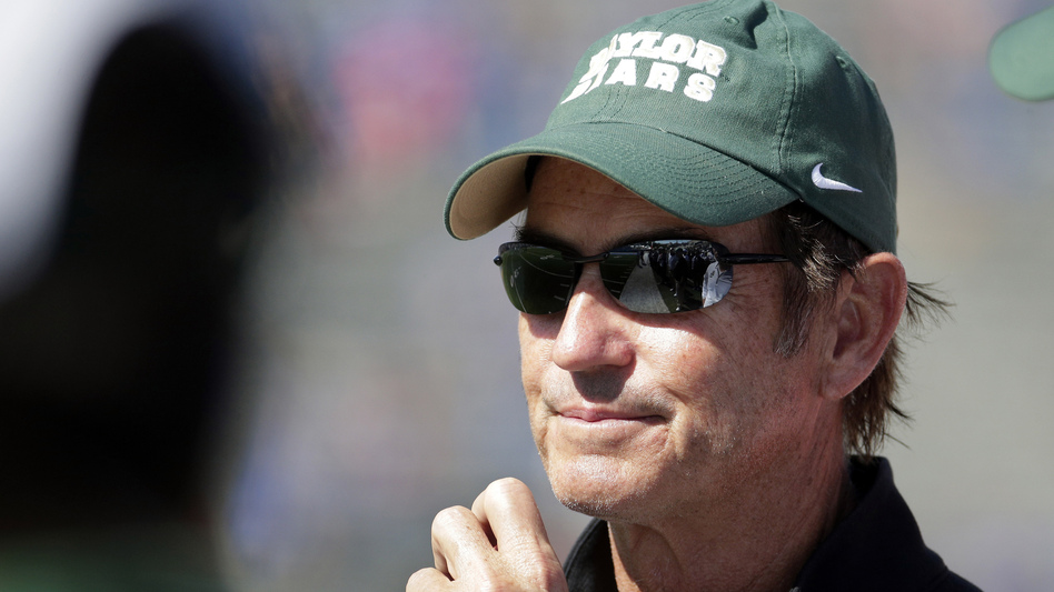 In this Oct. 10, 2015, photo, Baylor head coach Art Briles watches during the second half of an NCAA college football game against Kansas in Lawrence, Kan. (Charlie Riedel/AP)