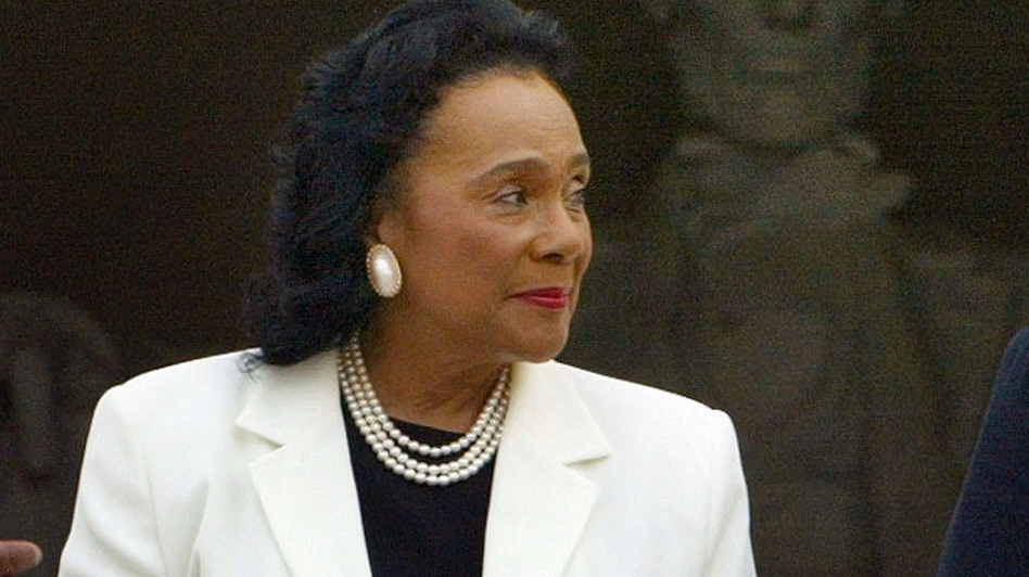 A nine-page letter written by Coretta Scott King is attracting new attention for its critical comments about Sen. Jeff Sessions. King, who died in 2006, is seen here at the Lincoln Memorial in 2003. (Mark Wilson/Getty Images)