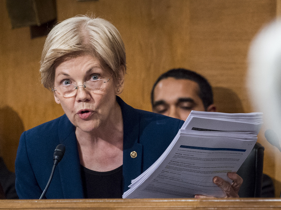 Sen. Elizabeth Warren, D-Mass., in a Senate committee hearing last year. (Pete Marovic/Bloomberg via Getty Images)
