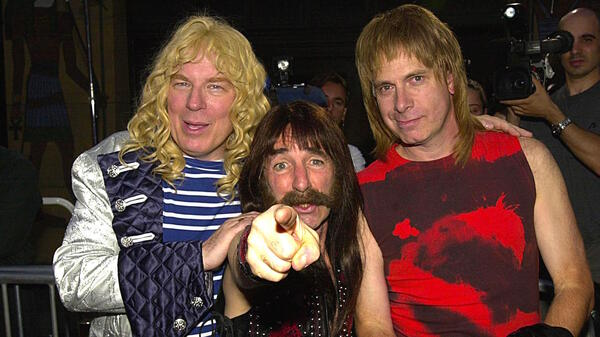 Michael McKean, left, Christopher Guest, right, and Harry Shearer at the re-release premiere of This Is Spinal Tap, Sept. 5, 2000.