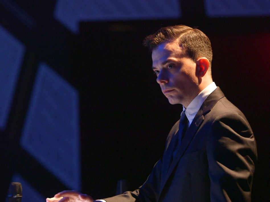 Darcy James Argue conducts The Secret Society in a performance of <em>Real Enemies</em>.