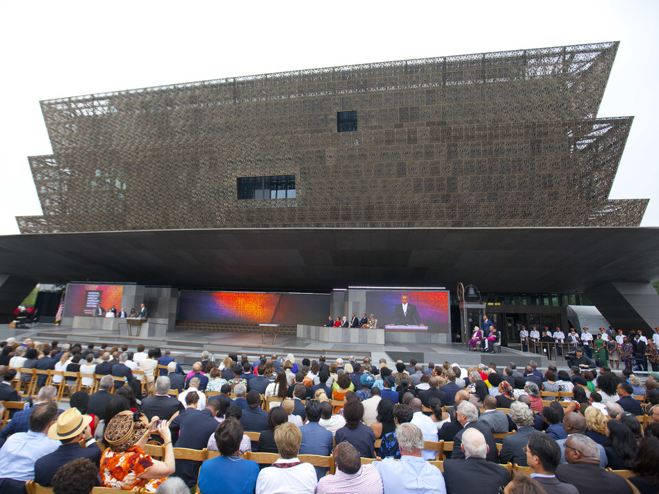 President Barack Obama speaks during the dedication ceremony for the Smithsonian Museum of African American History and Culture in Washington, DC, on Sept. 24, 2016. (Pablo Martinez Monsivais/AP)