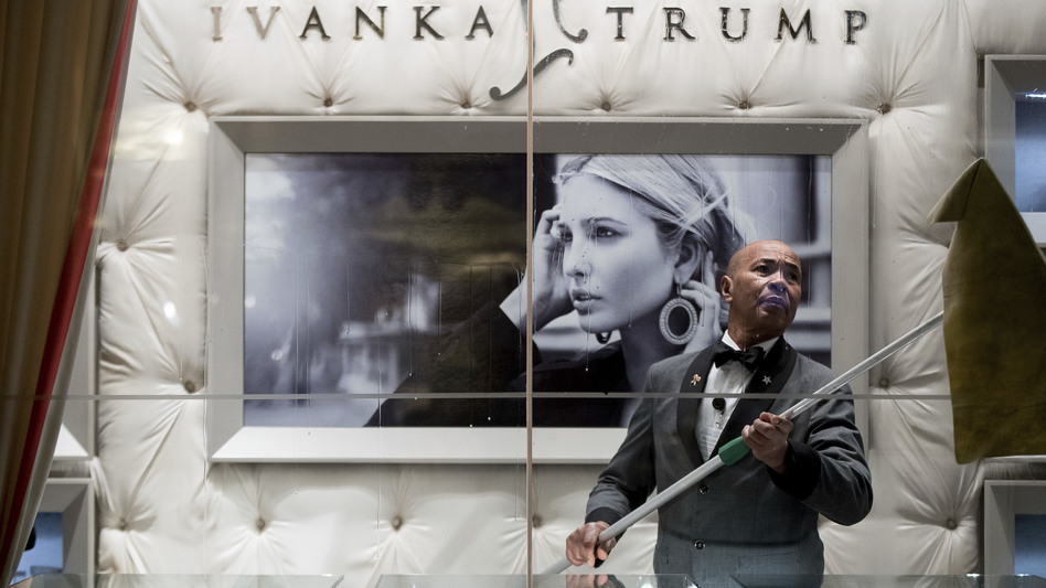 A worker cleaned the windows of the Ivanka Trump Collection in the lobby of Trump Tower in New York last month. (Andrew Harnik/AP)