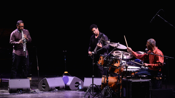 Ravi Coltrane (left) performing with Matthew Garrison (center) and Jack DeJohnette (right) in October. Coltrane is nominated for Best Improvised Jazz Solo at the 2017 Grammy Awards for the title track from In Movement, recorded with Garrison and DeJohnette.