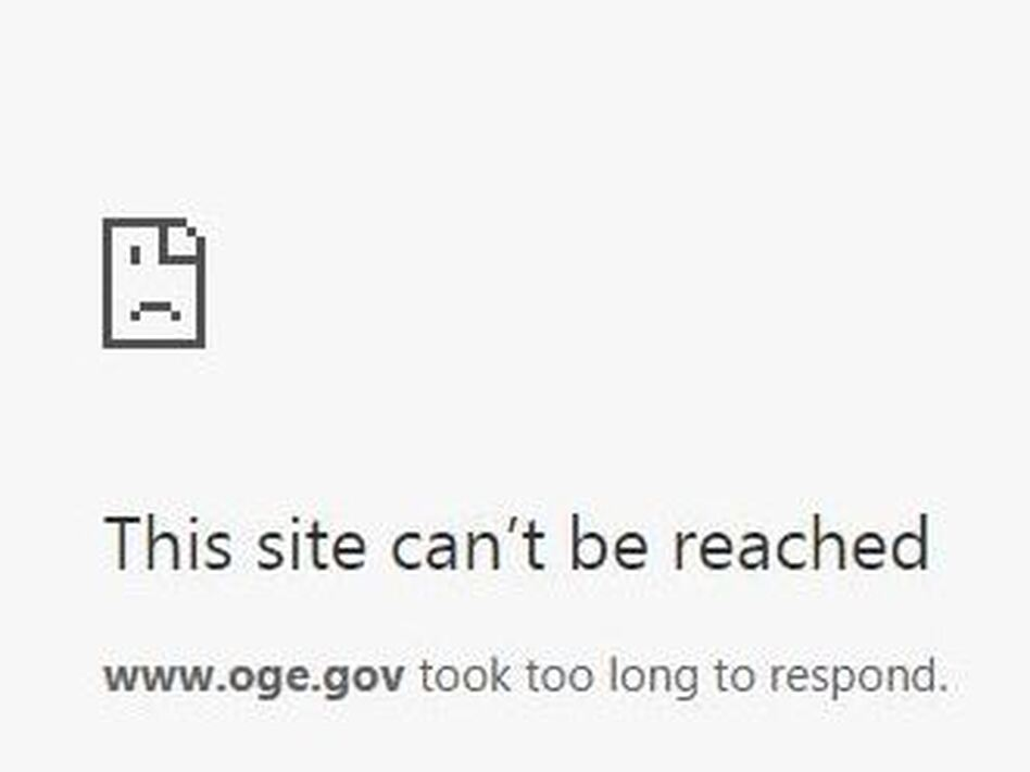 The Office of Government Ethics website was down on Thursday, after White House counselor Kellyanne Conway urged people to buy Ivanka Trump's products, potentially violating federal ethics rules. (Office of Government Ethics/Screenshot by NPR)