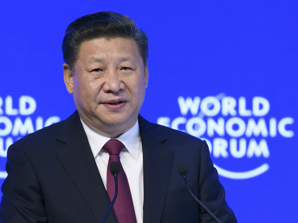 Chinese President Xi Jinping delivers a speech at the World Economic Forum last month in Davos, Switzerland. (Fabrice Coffrini/Getty Images)