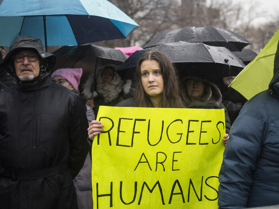 HIAS, a Jewish group that supports refugee resettlement, held a rally against President Trump's immigration ban on Feb. 12 in New York City. The group worries that giving governors the power to veto arrivals — something President Trump wants to do that last week's court ruling did not address — could unravel the resettlement program. (Alex Wroblewski/Getty Images)