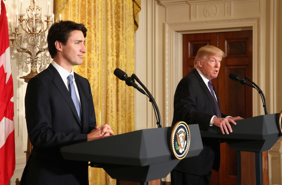 President Trump and Canadian Prime Minister Justin Trudeau participate in a joint news conference in the East Room of the White House on Monday. (Mark Wilson/Getty Images)