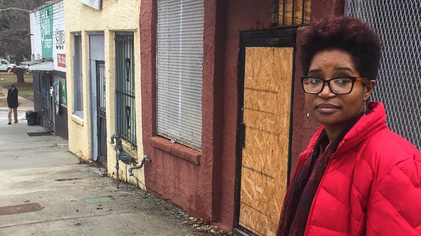 Keitra Bates stands in front of the building she plans to turn into Marddy