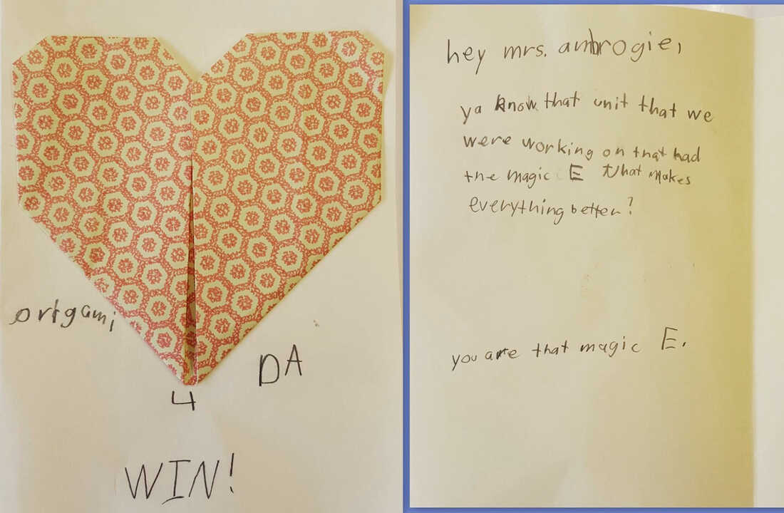 A handmade valentine from a student was magic for Laura Ambrogi, a reading specialist.