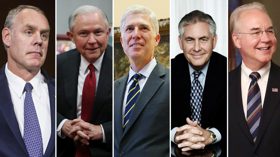 (From left) Ryan Zinke, the nominee for interior secretary; Attorney General Jeff Sessions; Judge Neil Gorsuch, Supreme Court nominee; Secretary of State Rex Tillerson; and Secretary of Health and Human Services Tom Price.