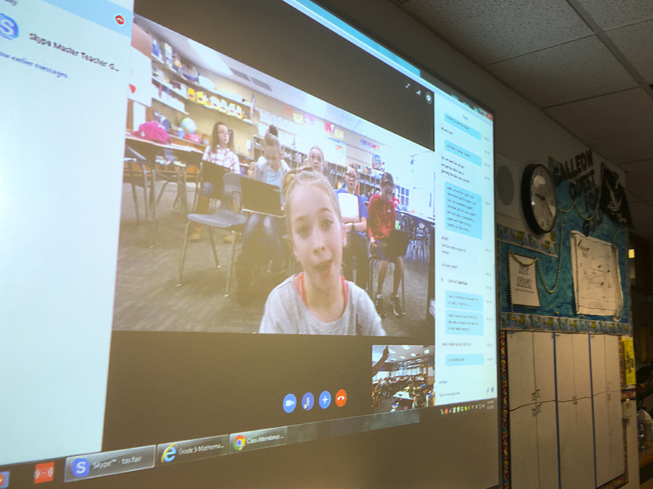 Bedley's class Skypes with Todd Flory's fourth-graders at Wheatland Elementary School in Wichita, Kan.