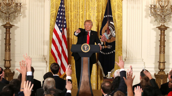 U.S. President Donald Trump speaks during a news conference announcing Alexander Acosta as the new Labor Secretary nominee in the East Room at the White House on February 16, 2017 in Washington, DC.