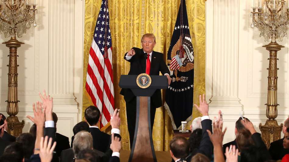 President Trump addressed a variety of topics Thursday during a news conference announcing Alexander Acosta as the new labor secretary nominee in the East Room at the White House in Washington, D.C. (Mark Wilson/Getty Images)