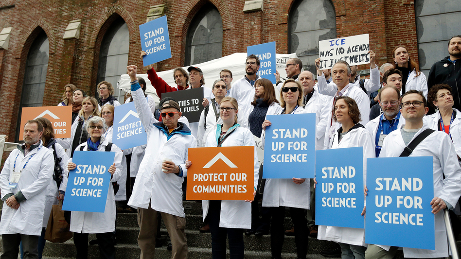 Scientists rallied for evidence-based public policy outside the American Geophysical Union's fall meeting in San Francisco in December. (Marcio Jose Sanchez/AP)