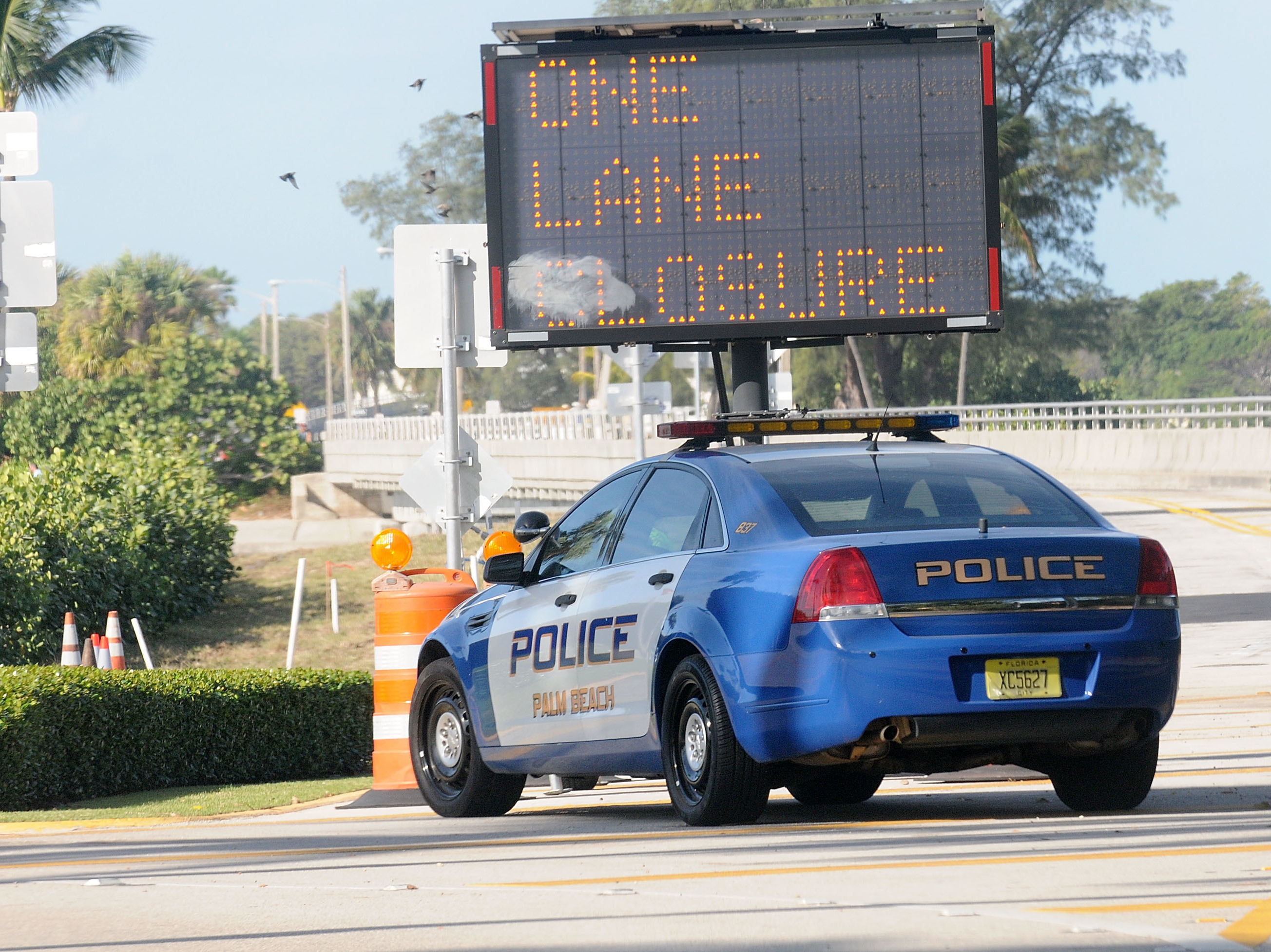 A Palm Beach Police car sits in front of a gate of the Mar-a-Lago Resort in November. During President Trump's frequent visits, the Secret Service shuts down a major thoroughfare, making it difficult to get anywhere in Palm Beach.Jorge Gonzalez, whose planes tow advertising banners, says the flight restrictions in place while President Trump is at Mar-a-Lago may put him out of business.A Palm Beach Police car sits in front of a gate of the Mar-a-Lago Resort in November. During President Trump's frequent visits, the Secret Service shuts down a major thoroughfare, making it difficult to get anywhere in Palm Beach.Jorge Gonzalez, whose planes tow advertising banners, says the flight restrictions in place while President Trump is at Mar-a-Lago may put him out of business.