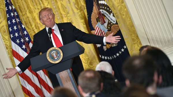 US President Donald Trump speaks during a press conference on February 16, 2017, at the White House in Washington, DC.