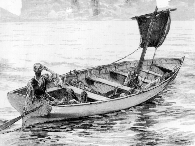 "An illustration from 1875 depicts the survivors of the frigate <em>Cospatrick</em>, which caught fire off South Africa's Cape of Good Hope in November 1874. Of more than 470 people on board, just three ultimately survived, and they <a href=""http://www.nzherald.co.nz/nz/news/article.cfm?c_id=1&objectid=10382697"">were reduced to cannibalism</a>."