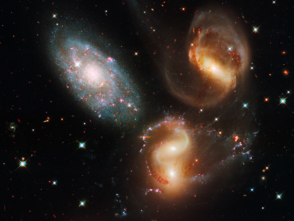 This image made by the NASA/ESA Hubble Space Telescope shows part of a group of five galaxies known as Stephan's Quintet. (NASA, ESA, Hubble SM4 ERO Team /AP)