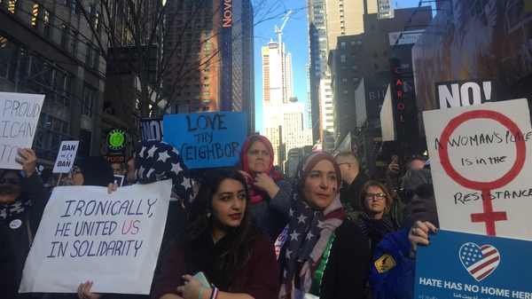 "Amal Bajes, sporting a printed American flag hijab, was at the ""I Am Muslim Too"" rally in New York City"