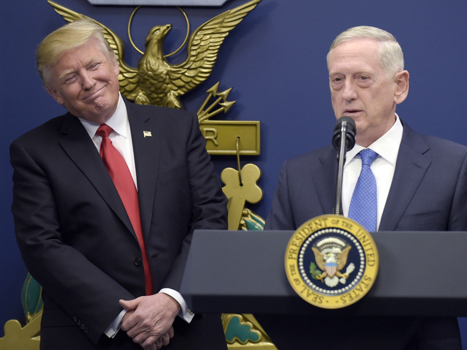 Defense Secretary Jim Mattis seems to be aiming to reassure U.S. allies while overseas. Ahead of an unannounced visit to Iraq, Mattis rejected President Trump's statements that the U.S. should have seized Iraqi oil after the invasion. (Susan Walsh/AP)