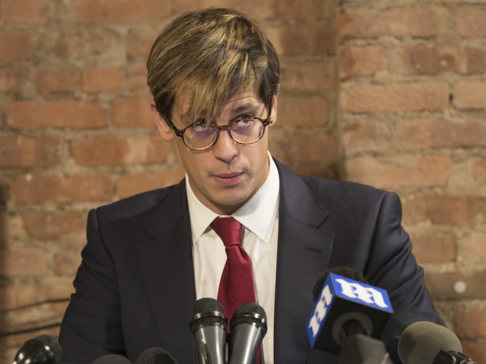 Milo Yiannopoulos speaks during a news conference Tuesday in which he announced his resignation as a senior editor with Breitbart News. (Mary Altaffer/AP)