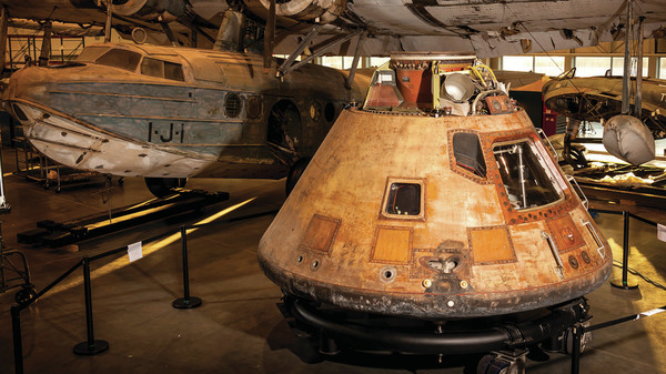 The Apollo 11 command module Columbia sits in the Mary Baker Engen Restoration Hangar in Virginia, where it is undergoing conservation.
