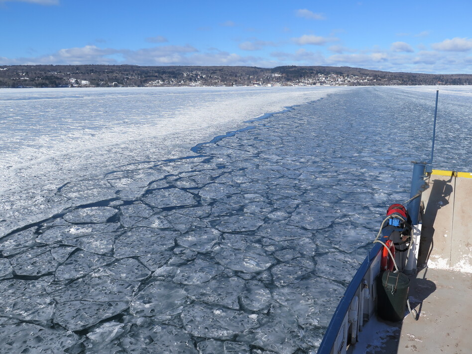 Typically, by this time in the winter, the ice is thick enough to support an ice road from Bayfield, Wis., to Madeline Island. But for the second year in a row, the ferry will run all winter long. (Dan Kraker/MPR)