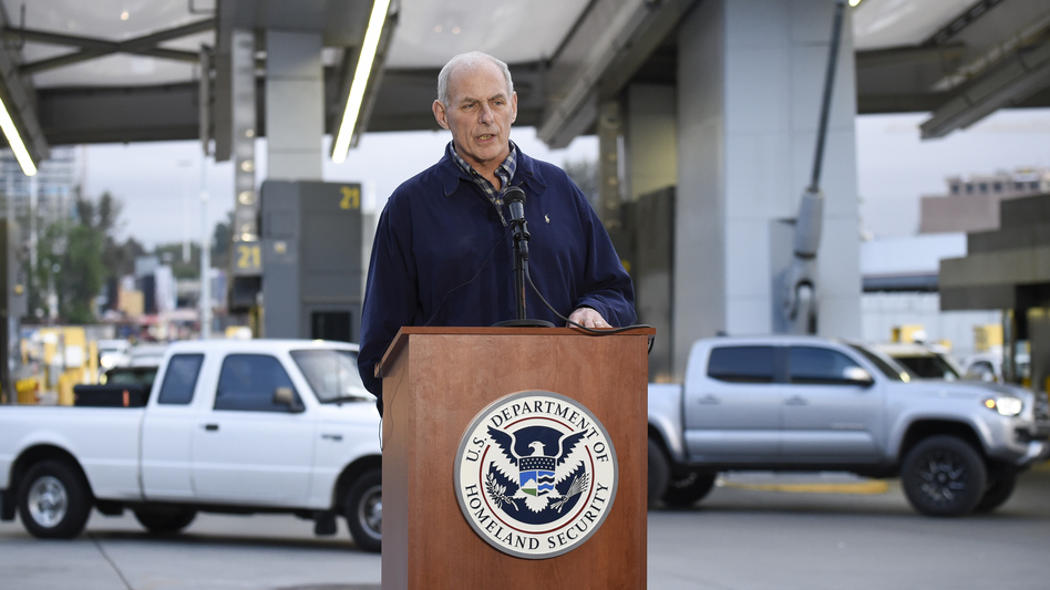 Memos signed by Secretary of Homeland Security John Kelly, seen at a news conference earlier this month at the San Ysidro Port of Entry in San Diego, lay out a number of immigration-enforcement measures, such as expedited deportation proceedings for unauthorized immigrants who have been in the U.S. illegally for up to two years. (Denis Poroy/AP)