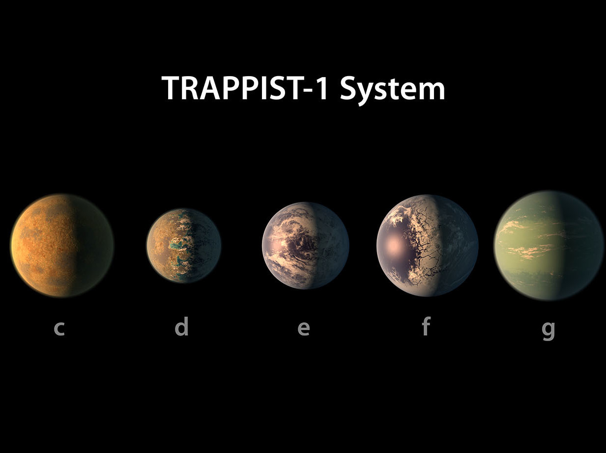 This artist's rendering depicts the TRAPPIST-1 planetary system, based on available data about their diameters, masses and distances from the host star. The cool, reddish star is about 40 light-years away from Earth. (NASA/JPL-Caltech)