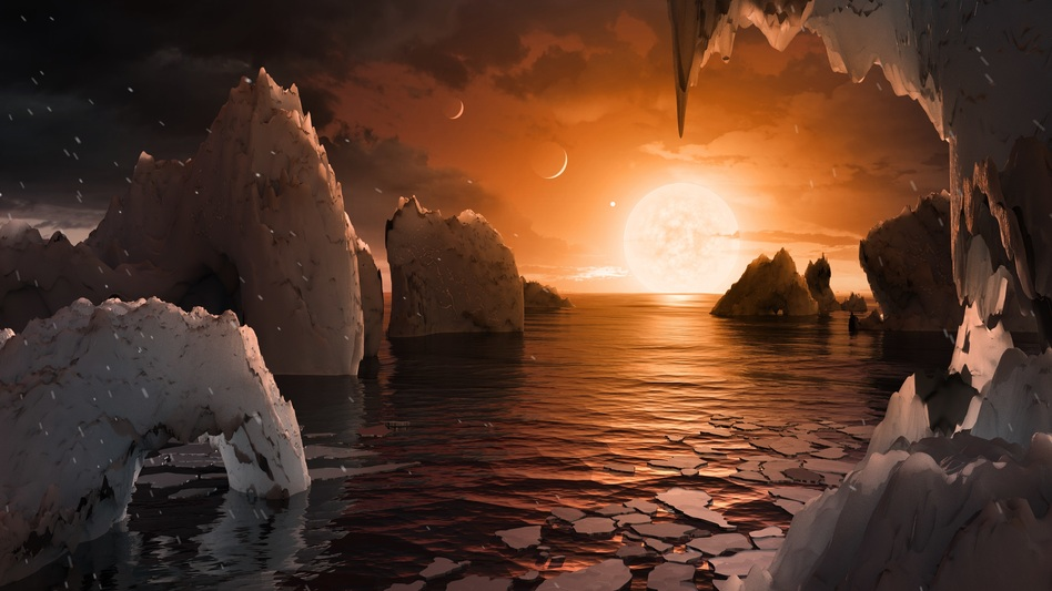This artist's rendering shows what one of the seven planets, TRAPPIST-1f, might look like. (NASA/JPL-Caltech)