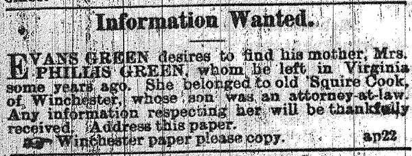 Evans Green searches for his mother, Phillis, through an ad placed in The Black Republican of New Orleans in 1865.