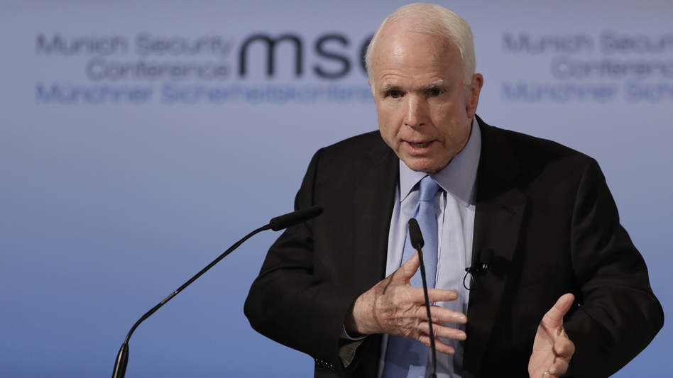 Sen. John McCain, R-Ariz., speaks during the Munich Security Conference last week. McCain's office has confirmed that while he was overseas, he met with U.S. forces in Syria about defeating ISIS. (Matthias Schrader/AP)