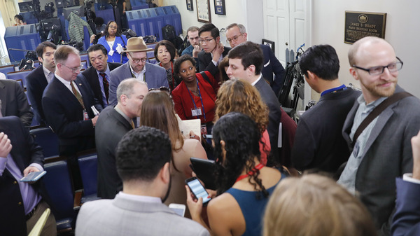 White House reporters line up Friday in Washington in hopes of attending a briefing in press secretary Sean Spicer
