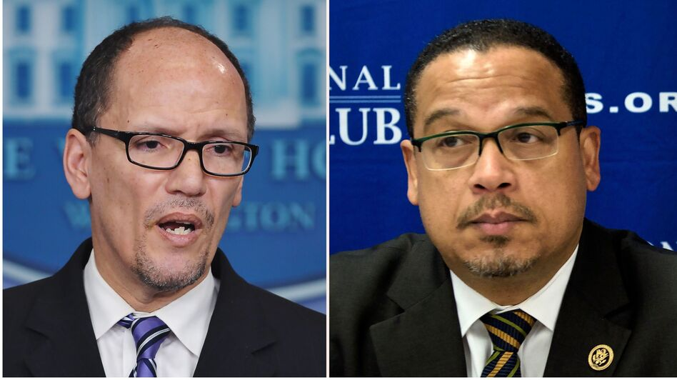 Tom Perez (left) and Keith Ellison are two front-runners for DNC chair. (Mandel Ngan and Brendan Smialowski/AFP/Getty Images)
