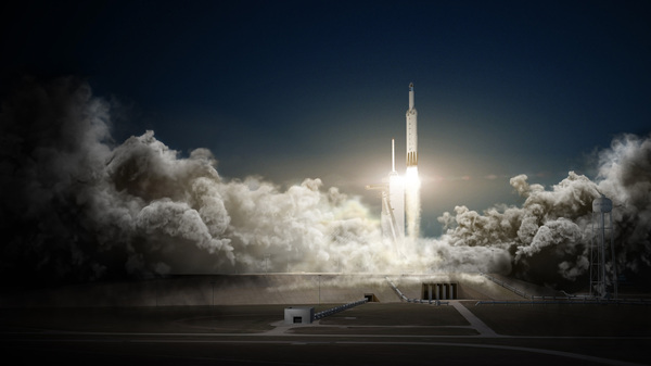 SpaceX says its Falcon Heavy rocket, shown here in an artist