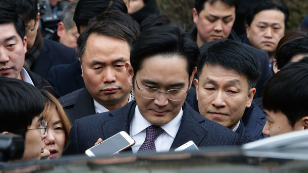 Lee Jae-yong, acting head of Samsung, was indicted on bribery and embezzlement charges on Tuesday.