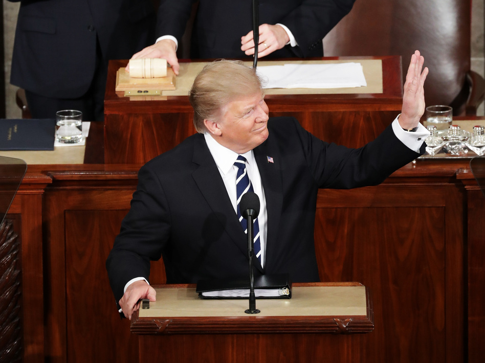 President Trump arrives to address a joint session of the Congress at the Capitol on Tuesday. (Chip Somodevilla/Getty Images)