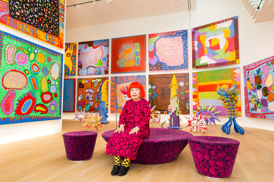 "Yayoi Kusama with recent works in Tokyo in 2016. In 1968, Kusama wrote, ""Our Earth is only one polka dot among a million stars in the cosmos. Polka dots are a way to infinity."" (Tomoaki Makino/Courtesy of Yayoi Kusama)"